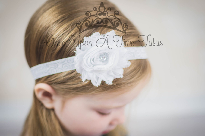 White Silver Shabby Flower Swirl Headband - Newborn Baby Hairbow ...