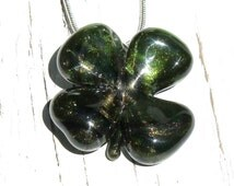 Four Leaf Clover Pendant, Shamrock Necklace, Blown Glass Pendant, Need a little luck?