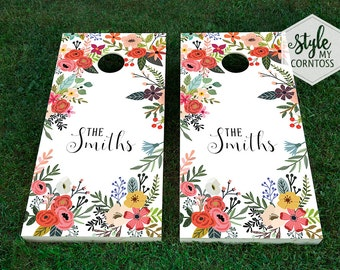 Custom Cornhole Boards - Floral Monogram - Bohemian Corntoss - Boho Art -  Custom Wedding Game