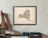 New York by County - Typography Print