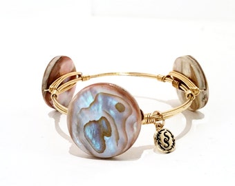 Gold Wire Wrap Stacking Bangle Bracelet Brown Pink Mother of Pearl Seashell Island Tropical Resort Vacation Jewelry for Her