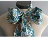 Upcycled Steampunk Clothing, Turquoise and Grey Cotton Print Bow Tie, Mad Hatter Bow Tie- Alice in Wonderland Neck Tie, Handmade Bow Tie