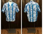 Vintage Clothing, Hawaiian Shirt, Blue and White Floral Shirt, Hawaii Five-O, Jade Fashions Vintage Shirt, Aloha, 100% Cotton Adult Size XL