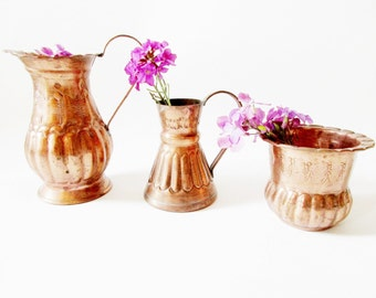 Set of 3 German Vintage Rustic Copper Watering Cans, Jug Pitchers or Flower Vases and Little Planter with Handle Rustic Folk Art Home Decor