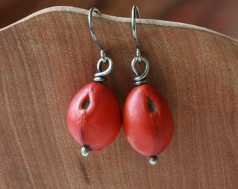 Sterling Silver and Red Mountain Laurel Seed Earrings