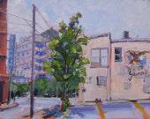 ORIGINAL Urban America Landscape Oil Painting. Small Plein Air Art. Impressionist. Old city bar. Yuengling emblem Affordable modern decor.