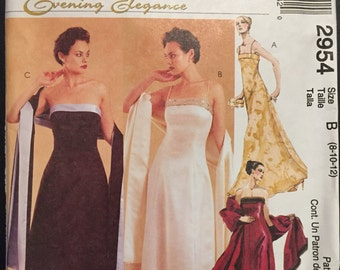 McCall's Sewing Pattern 2954 Misses and Miss Petite Lined Dress and Stole Size 8-12