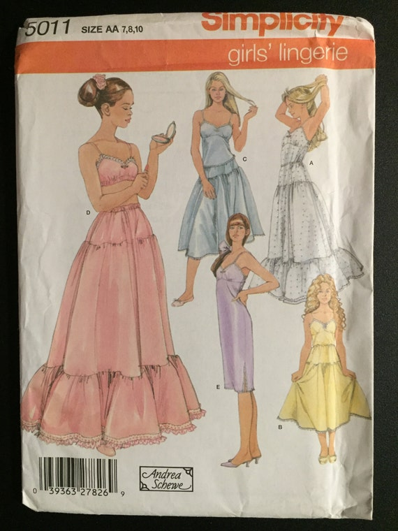 Simplicity Sewing Pattern 5011 Uncut Girls Lingerie, Camisole, Bra, and Slip Size 7-10