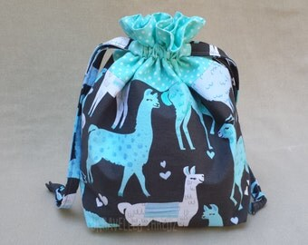 Sock Knitting Project Bag, Small Drawstring Project Bag, Llama Alpaca Project Bag,