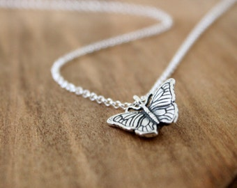 Butterfly Necklace - Sterling Silver Butterfly Pendant Necklace, Spring Summer Jewelry, Nature Wings, Insect Necklace, Gift for Her Under 40