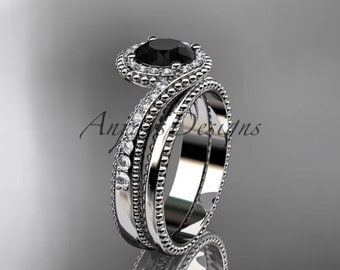 14kt white gold halo diamond engagement set with a Black Diamond center stone ADLR379S