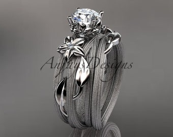 platinum diamond floral, leaf and vine wedding ring, engagement set ADLR253S