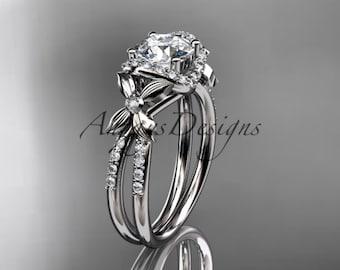 platinum diamond floral wedding ring,engagement ring ADLR140