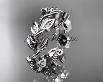 14kt  white gold diamond leaf wedding ring,engagement ring,wedding band ADLR120