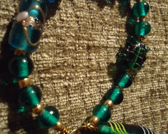 Boho Gypsy Inspired Green In Blue Waters Glass Drop Pendant Bracelet