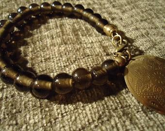 Boho Gypsy Inspired Smokey Topaz Coin Medallion Beaded Bracelet