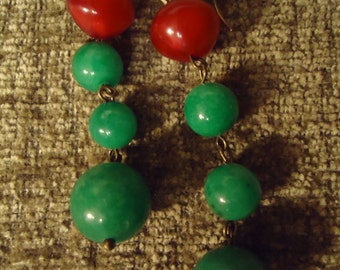 Boho Gypsy Inspired Cranberry and Emerald Colored Dangle Earrings