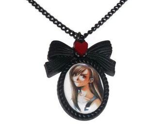 Tifa Lockhart Necklace, Cute Final Fantasy 7 Cameo Necklace