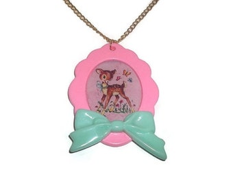 Deer Necklace, Cute Kitsch Pastel Pink and Mint Green Large Cameo Kitsch Quirky Jewelry