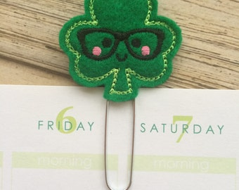 Shamrock Nerd Planner Clip, Book Nerd Book Mark, St Patrick's Day Planner Bookmark, March Planner Clip - Dark Green