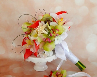 Beach Wedding Bouquet-Orchid Bridal Bouquet, Calla Lily Wedding Bouquet, Starfish and Seashell Bridal Bouquet - Made To Order- SOLD