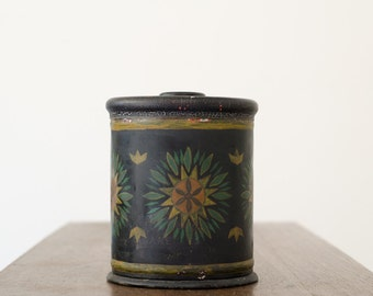 Antique Tole / Toleware Canister Tea Caddy w/ Lid and Hand Painted Flowers