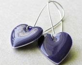 Dangle Drop Earrings - Midnight Blue Epoxy Enamel Hearts - Sterling Silver Plated over Brass