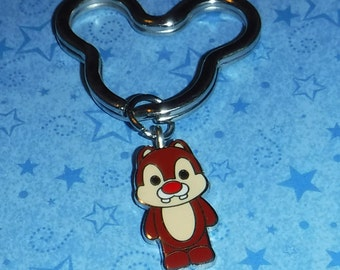"""Dale Chipmunk Key Chain, Re-purposed from Disney Trading Pin, 2.5"""" Long"""