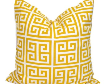 Yellow Pillow, Yellow Pillow Cover, Decorative Pillow,Throw Pillow, Greek Key Pillow,18x18, 16x16, 22x22, 24x24, 26x26 and more-ALL SIZES,cm