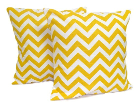 YELLOW CHEVRON PILLOWS. Set of Two.20x20, 18x18 or 16x16 inch.Pillow Covers.Decorative Pillow Covers.Housewares.Yellow.Yellow Cushions.cm