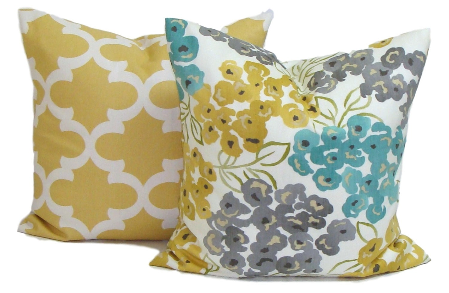 Teal Yellow Pillow Cover Gray Pillow Pillow By Elemenopillows