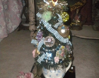 SUMMER SALE JUST Made Beautiful Ooak Bottle Brush Tree, Eclectic, French Boudoir, Shabby Chic