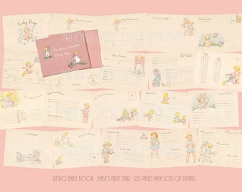 Printable Pink Baby Book 1940s Baby's First Year Lots of Fun Details Retro Artwork Digital Download New Baby DIY Baby Shower Gift