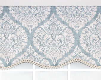 Damask province window valance in blue and citrus with or without trim