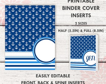 BC007 | NAUTICAL Printable Binder Cover |  includes 2 front/back covers | Sticker Binder | Planner Cover | Teacher Binder