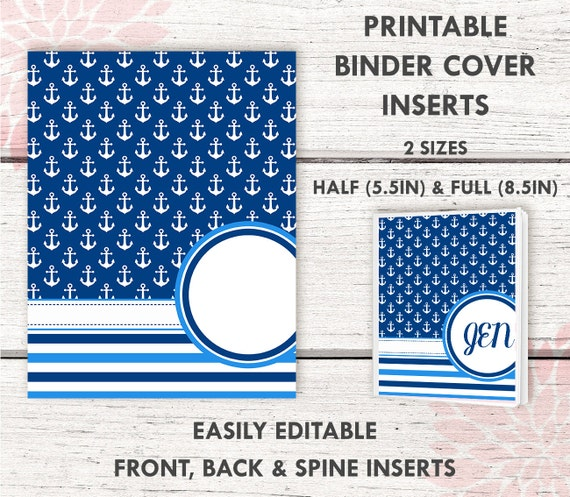 BC007 NAUTICAL Printable Binder Cover includes 2