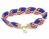 American Flag Peyote Weave  Bracelet