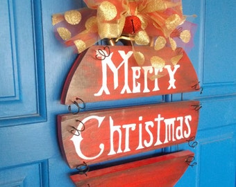 Christmas Door Wreath, Merry Christmas Sign, Plank Art, Holiday Wreath, Ornament Wreath, Christmas Hanging, Holiday Sign, Christmas Sign
