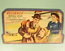 Mother Father Daughter Son Needle Book - Vintage Reliance Airplane Paper Holder Assortment