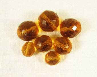 Honey Amber Beads - Vintage Faceted Glass Crystal Round Loose