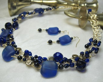 Cobalt Blue Necklace Set, Wire Crocheted Necklace, handmade bead jewelry