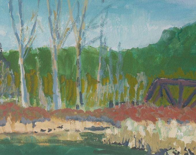 Wetlands Painting Oakridge Pond Plein Air 10x20 inches gouache on paper Sherri McDowell Artist Free Shipping