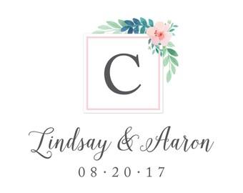 Floral Watercolor Wedding Logo Design - DIY, Script, Vintage, Pink, Green