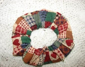Country Heart fabric Hair Scrunchie, women's accessories, cottage chic, womans scrunchies, country plaid patchwork
