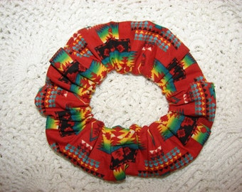 Southwestern Aztec Red Fabric Hair Scrunchie, women's accessories, gifts for her, arizona new mexico, womans scrunchies, multicolor hair tie