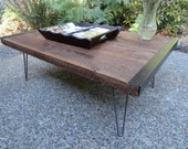 "Custom for klsorrells 28""x 42""x 18"" Industrial Coffee Table from old barnwood with hairpin legs"
