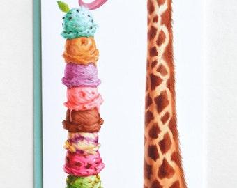 Ice Cream Card, Giraffe Birthday, Blank Summer Card