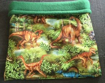 Dinosaurs in the Jungle Cotton and Green Fleece Snuggle Bag
