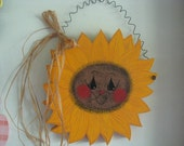 Sunflower,   face,   wall hanger,  wall decor, handpainted, yellow
