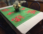 Vintage White with Green and Pink Flowers Printed Kitchen Dining Luncheon Table Cloth for housewares by MarlenesAttic